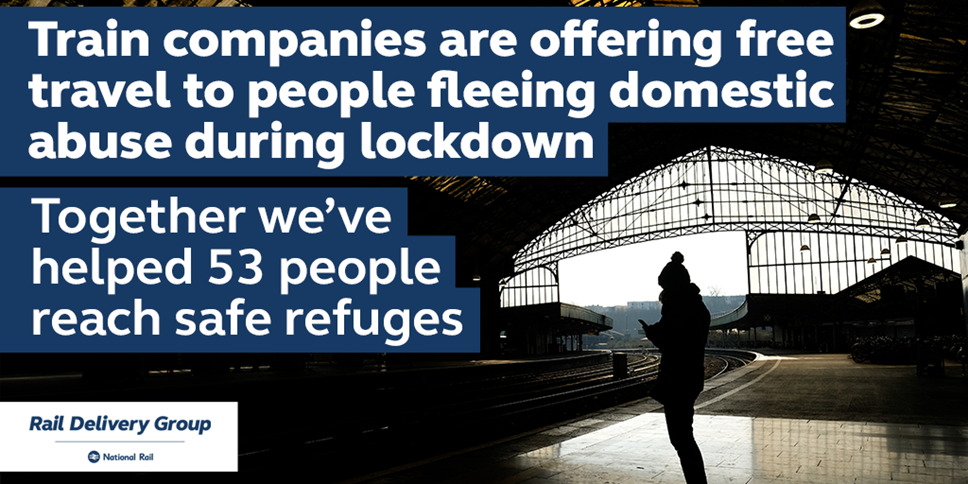 Train companies have given free travel to 53 people fleeing domestic abuse during lockdown: Rail to refuge 1024x512