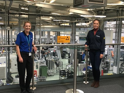 'International Women in Engineering Day': Siemens at forefront of recruiting women into manufacturing: Sarah Black-Smith and Ashleigh Sumner at Siemens factory in Congleton