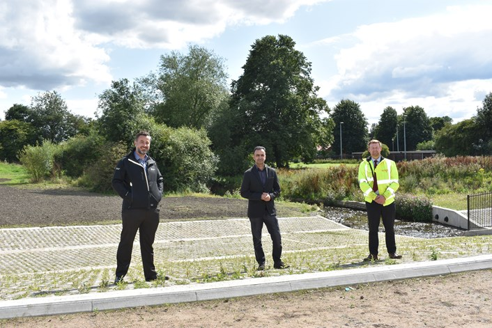 Major flood alleviation scheme in east Leeds officially unveiled: 4. Scheme partners - John Woods, Environment Agency, Cllr Rafique Leeds City Council and Paul Lambert, WSP