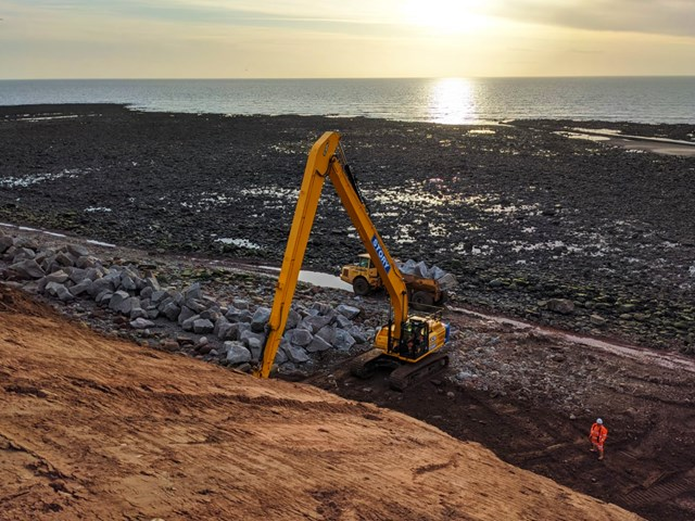 St Bees headland rock armour being installed