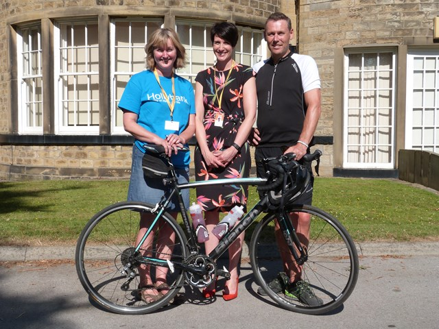 Network Rail workers complete bike ride for West Yorkshire charity: Joanne Keenan, race organiser and member of the support team, Anna O'Mahoney, Hollybank Trust's Chief Executive Officer, and Ian Quick.