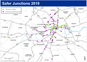 TfL Image - Locations of 73 Safer Junctions across London