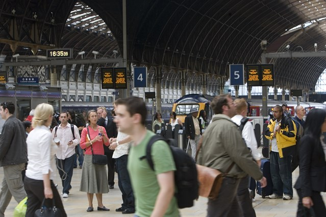 Track and train working together to transport Royal wedding well-wishers with up to 60,000 expected to travel to Windsor by train: Paddington station