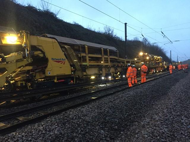Track renewal work in Grantham