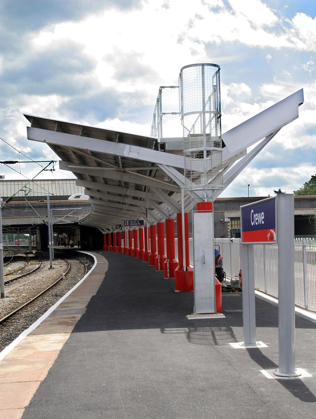 New roof for Crewe: New station canopy at the north end of platform 12 at Crewe Station.
