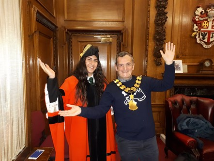 Young Mayor Honey Baker and Mayor of Islington Cllr Dave Poyser