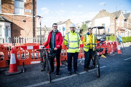 Cllr Champion (pictured right), alongside TfL Walking and Cycling Commissioner Will Norman (left) and Vince Gannon (centre) from CVU as work starts on the Cycleway
