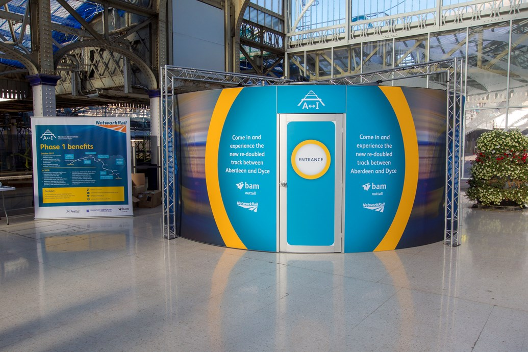 Aberdeen-Inverness project gives customers virtual view of upgrade works: Abedeen-Inverness VR booth at Aberdeen station
