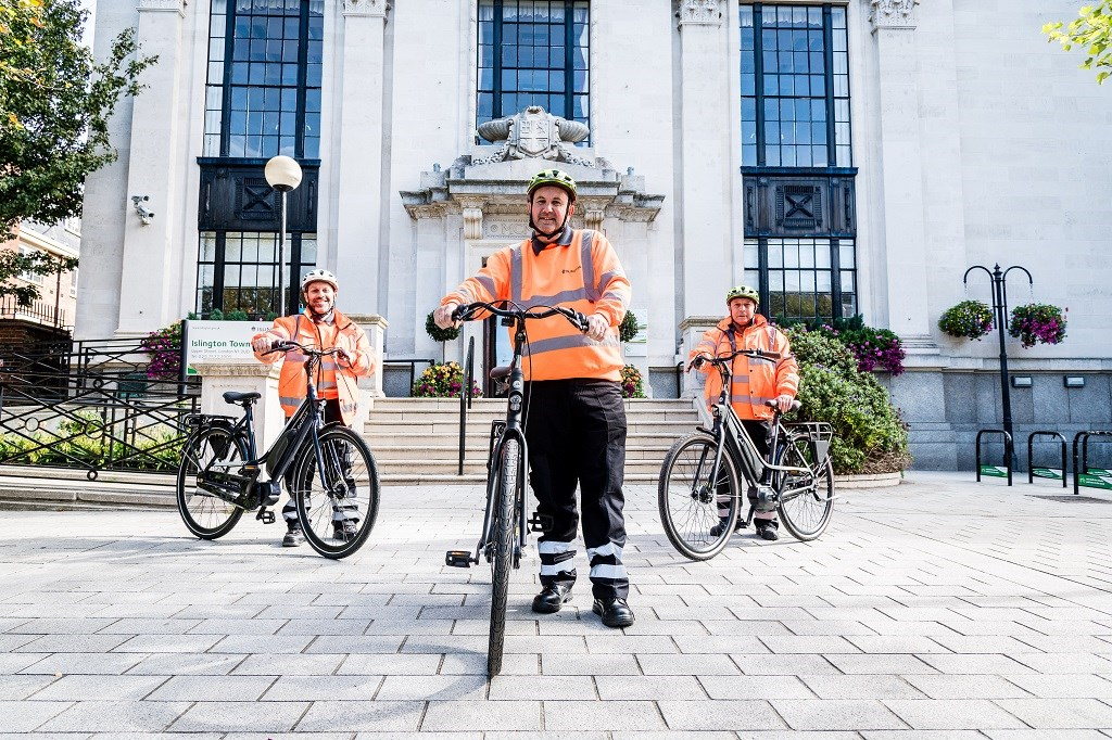 Street Environment Services supervisors Andrew Danezi (pictured left), Dean Herbert (centre) and Mustafa Gazovali (pictured right) with their new e-bikes