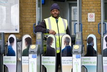 Samaritans Brew Monday - station support at Samaritan's branded ticket barriers