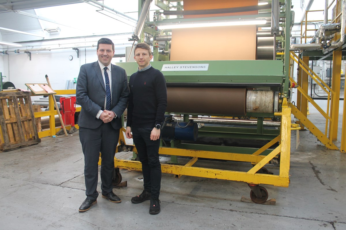 HS-jamie-billy: Business Minister Jamie Hepburn pictured with Halley Stevensons General Manager Billy Tosh