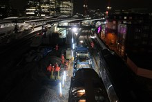 NTC at London Bridge: The New Track Construction (NTC) machine laying the new tracks through lines 1 and 2 at London Bridge, ahead of commissioning over the Easter weekend.