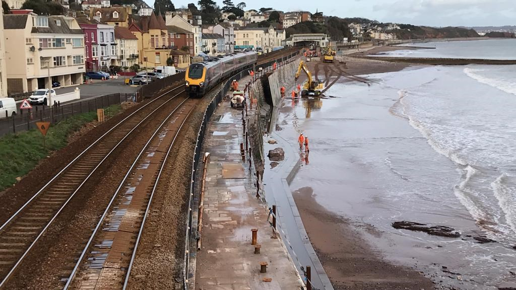 Significant step towards more resilient railway as new Dawlish sea wall takes shape despite challenging conditions caused by Storm Ciara: The new sea wall will help protect the only railway line into Devon and Cornwall