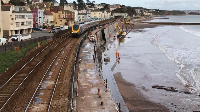The new sea wall will help protect the only railway line into Devon and Cornwall