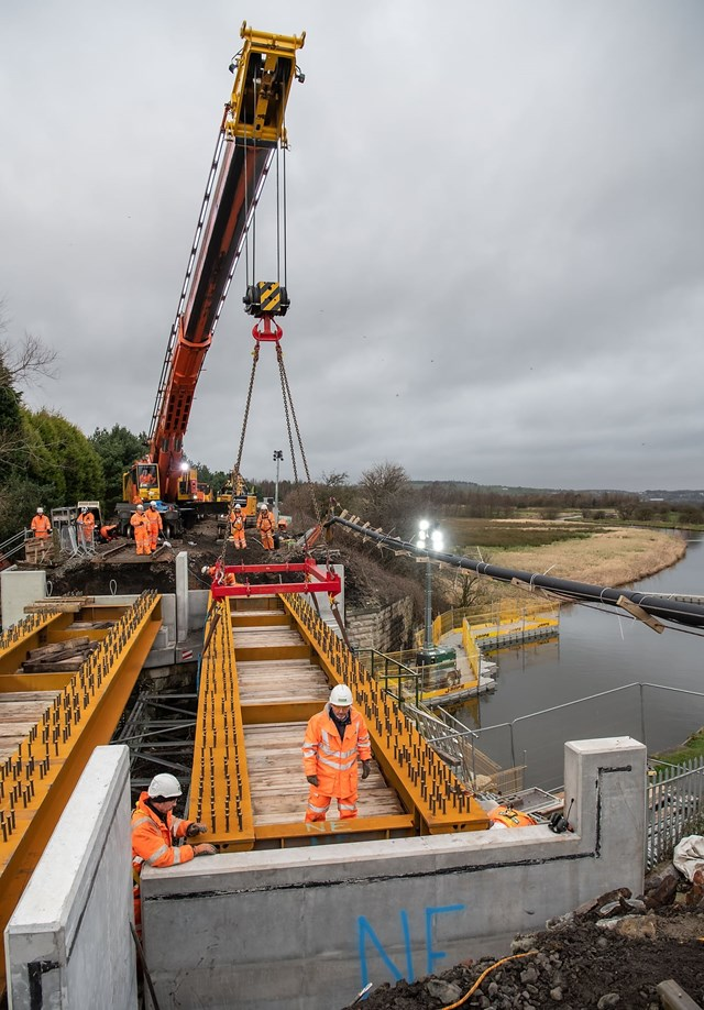 New bridge deck being lifted into place at Oswaldtwistle