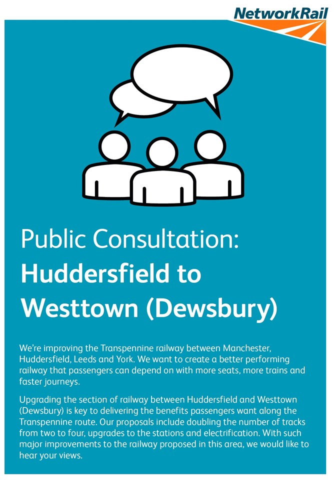 Public consultation on major rail upgrade to begin in West Yorkshire: Network Rail is starting a public consultation in Kirklees West Yorkshire (002)