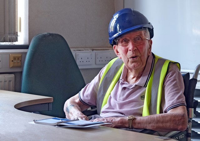Chart leacon: Jim Skinner in his old office - he joined Chart Leacon depot when it opened in 1961 and he's now 95!