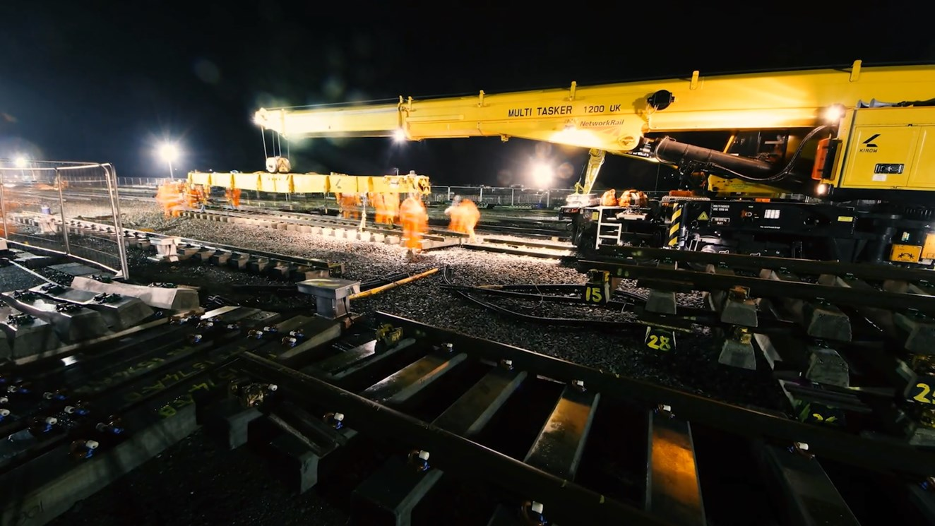 Time-lapse footage shows completion of first stage of major Christmas upgrade to railway in Northamptonshire: Time-lapse footage shows completion of first stage of major Christmas project to improve railway in Northamptonshire
