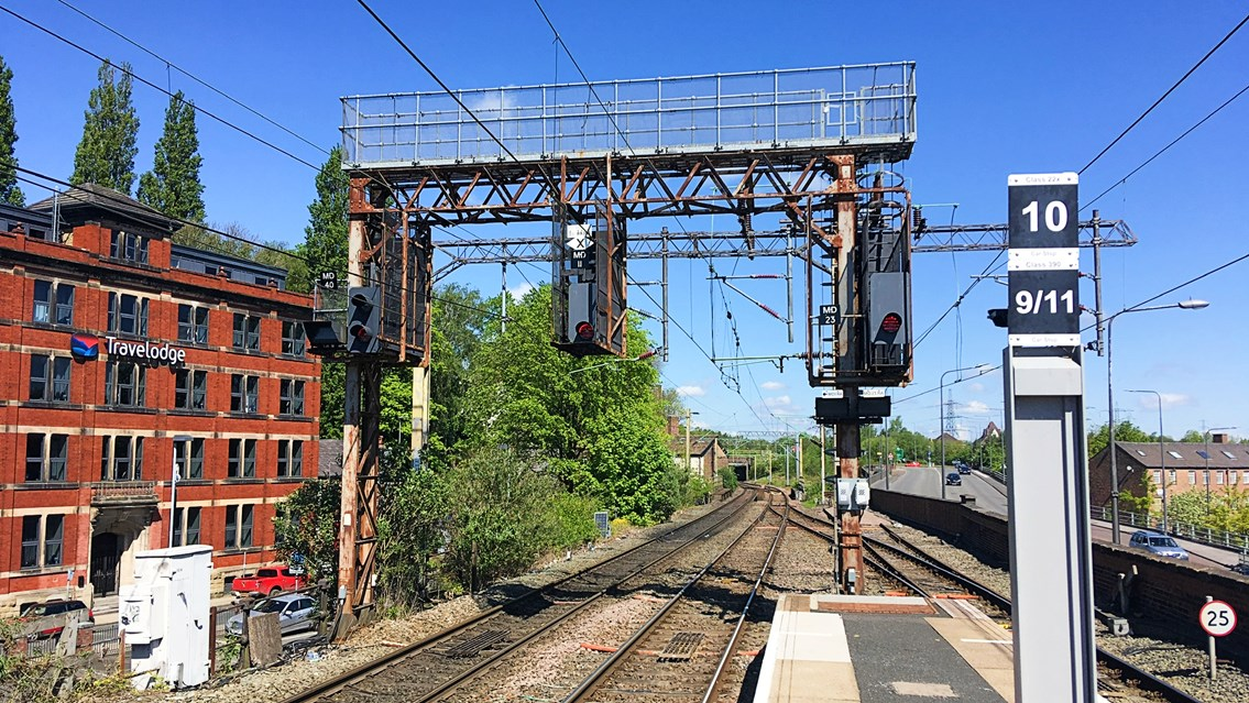 Major investment into West Coast main line railway signals: Example of signals being replaced in Macclesfield