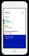 TfL Go - Status board iPhone 8