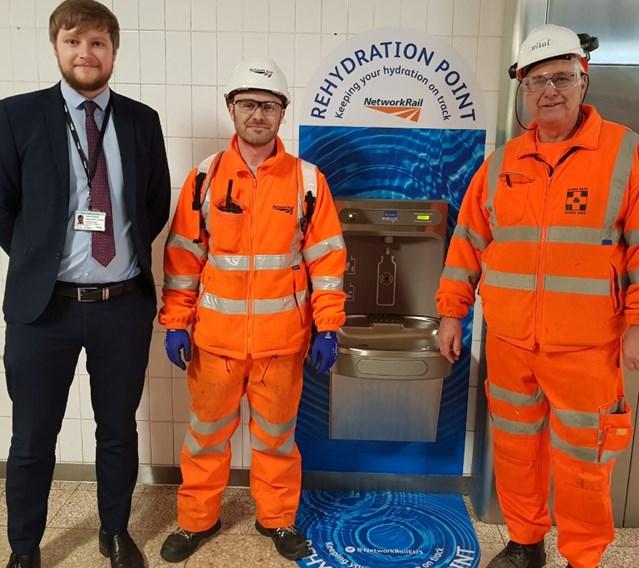 Network Rail makes a splash at London Euston station: L-R Daniel Hughes, Franco Sulla and Alan Mowbray from Network Rail