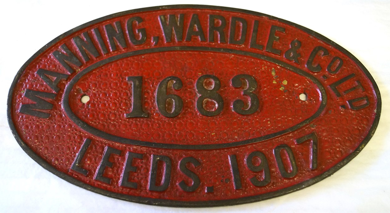 Leeds Industrial Museum: Nameplate for Leeds firm Manning Wardle , who built Nellie for the Sierra Leone Government Railway in 1915.