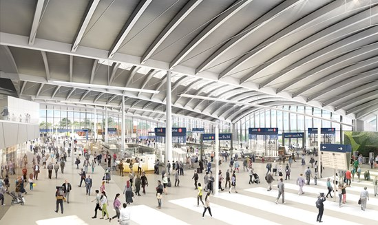 Old Oak Common Station Ground Floor Concourse View: Interior CGI of main station concourse at Old Oak Common.