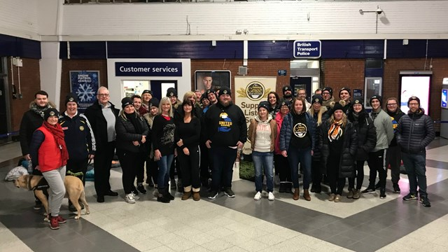 Railway volunteers 'sleep out' in aid of local Blackpool homeless charity: Blackpool North charity sleep out (3)