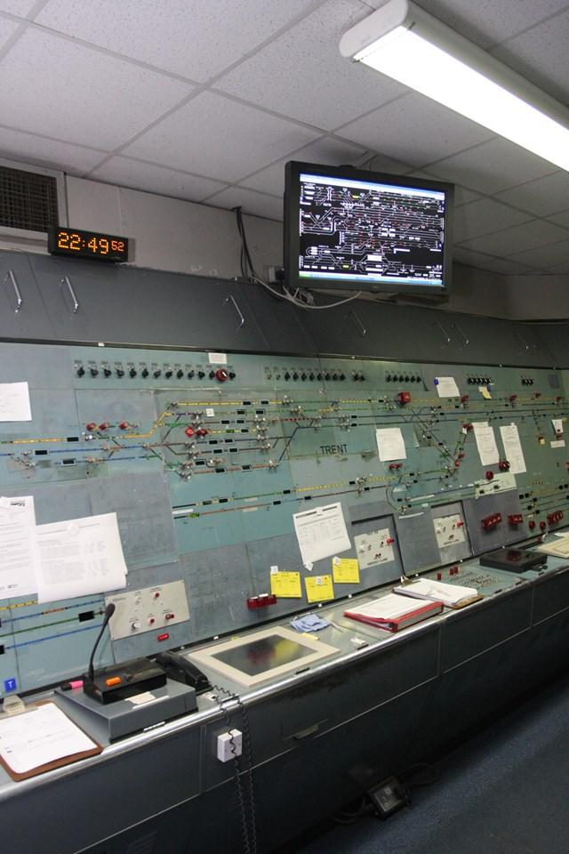 Nottingham resignalling: Trent Power Signal Box is switched out: Nottingham resignalling: Trent Power Signal Box is switched out, this is the last remaining panel as the last train leaves