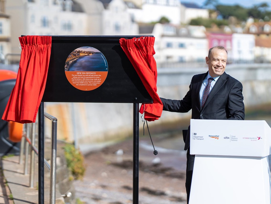 Rail Minister Chris Heaton-Harris today (25 September) officially opened the first section of the new Dawlish sea wall: Rail Minister Chris Heaton-Harris today (25 September) officially opened the first section of the new Dawlish sea wall
