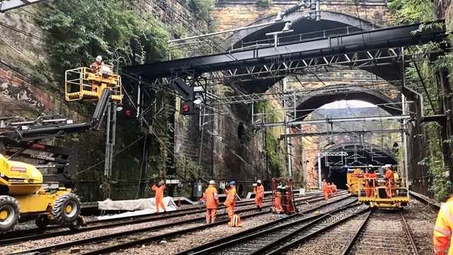 Gantry work in tunnel between Edge Hill and Lime Street