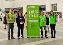 Samaritans Brew Monday - leaflets and pull up at Birmingham new Street