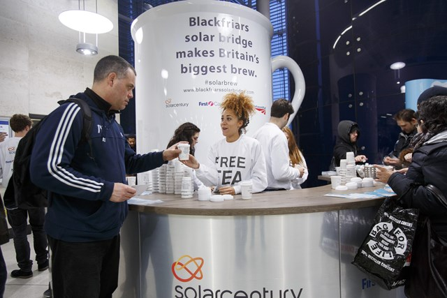 The world's biggest cup of tea - at Blackfriars station: The world's biggest cup of tea - at Blackfriars station