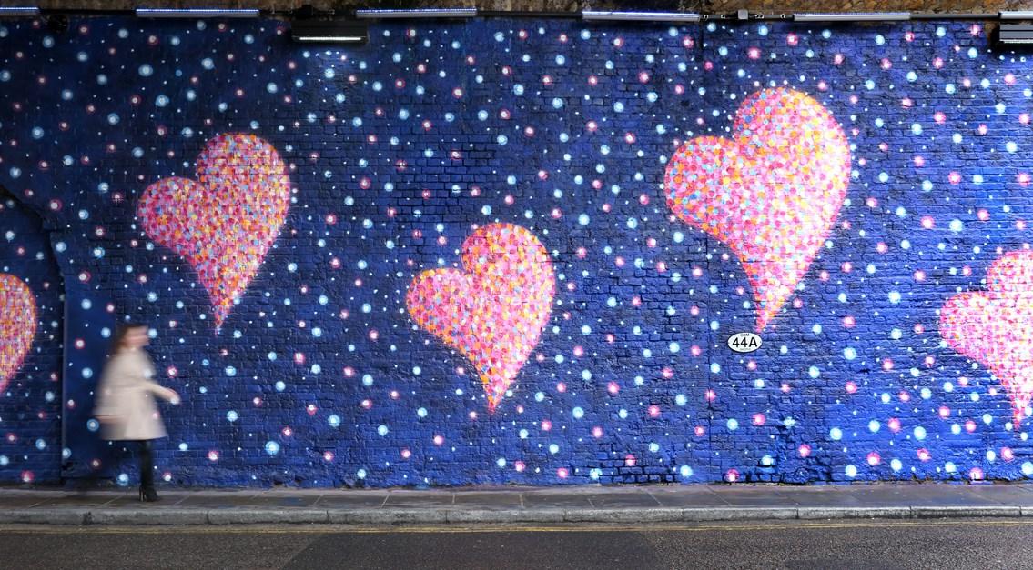 Street artist Jimmy C creates railway arch mural in memory of London Bridge terror attacks: Jimmy C's artwork at Southwark