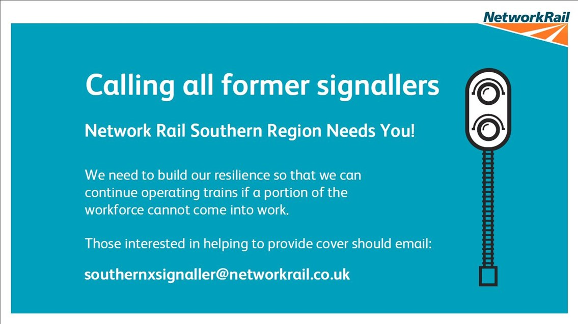Network Rail Southern Region appeals for former professional signallers to help the railway keep key workers moving during coronavirus crisis: Signallers appeal