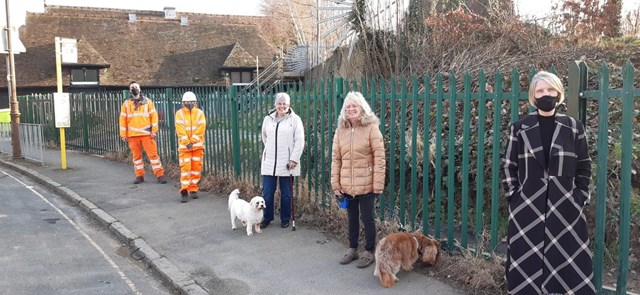 Railway workers with Port Sunlight locals supporting tree planting scheme