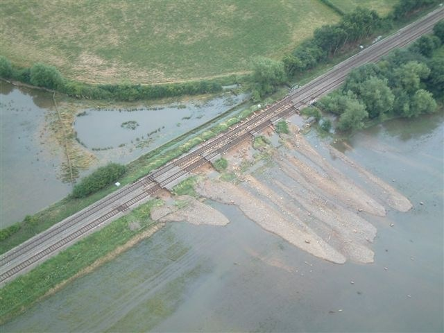 Cotswold Line Flooding: Washed out embankments on the Cotswold Line near Moreton-in-Marsh