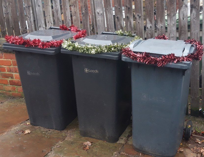 Merry Binmas - Leeds bin collection dates to change during the festive period: 20191101-blackbinswtinsel1-719657.jpg
