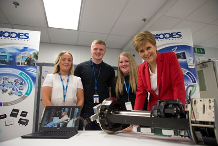 Diodes1: (L-R) Diodes apprentices Caitlin Kirk, Ross MacDonald and Aimee Cooke with the First Minister.