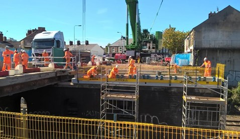 Work took place over the August Bank Holiday Weekend to demolish and reconstruct the first half of Splott Road bridge