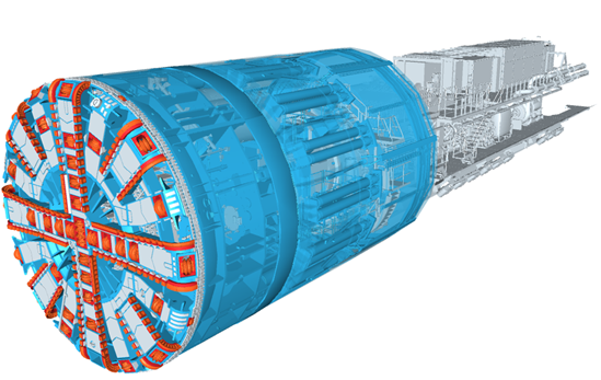 Tunnel boring machine (TBM) 3D model June 2020: Credit: Herrenknecht  Around 35 miles of the high-speed line route from London to Birmingham will be in tunnels and our first two TBMs are currently being assembled in a factory in Germany. They will be transported to the launch site later in the year.   (Tunnelling, tunnels, boring, machine, TBM, tunnel boring machine, construction, chilterns, marie curie, florence nightingale, cecilia payne-gaposchkin, naming, south portal site, area south, machinery, machines)  Internal Asset No. 15876