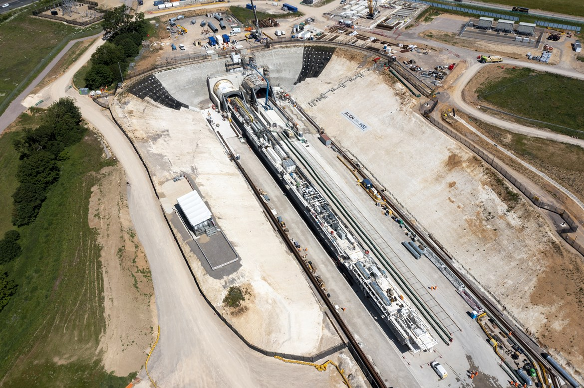 Momentum builds as HS2 launches second giant tunnelling machine: TBM Cecilia from the air June 2021
