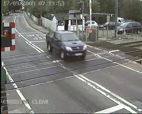 Motorist ignores warning lights at Narborough level crossing, Leicester (2)
