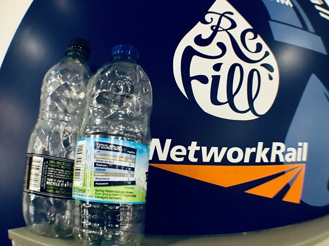 Passengers help save 500,000 plastic bottles by using free station water fountains: Water refill point