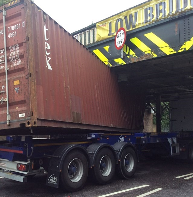 Lorry drivers urged 'check it, don't chance it' as Network Rail reveals railway bridge bashes in the South East cost £7.5m each year: Thurlow Park Railway Bridge