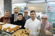 (L-R) Bashar Helmi, Ronnie Miles (Scottish Bakers), Ms Gougeon, Alasdair Smith (Scottish Bakers), Mohamed Helmi, Tasmin Helmi
