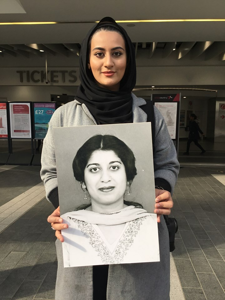 Seven days left to be part of iconic suffragette artwork at Birmingham New Street: Maryam with a Face of Suffrage picture