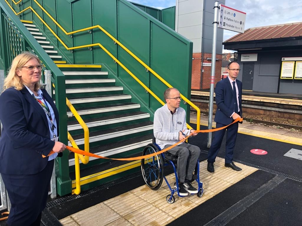 Multi-million pound transformation makes Cadoxton station more accessible: Alison Thompson, Simon Green and James Price at the opening of Cadoxton's new lifts