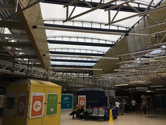 The new ETFE roof is starting to emerge at Leeds Station