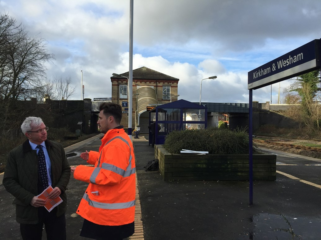 Passenger improvements planned for Fylde railway station: Network Rail staff talking to passengers atr Kirkham and Wesham station Jan 16 2017